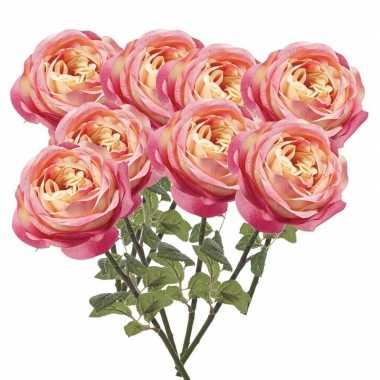 8x roze kunstroos kunstbloemen 66 cm decoratie
