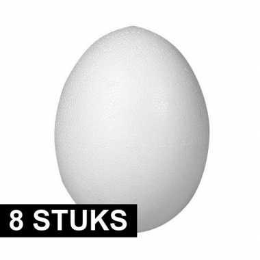 8x stuks eieren van piepschuim 8 cm
