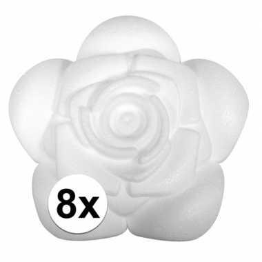 8x styropor piepschuim roosjes 11 cm