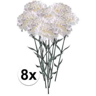 8x witte dianthus kunstbloem 65 cm