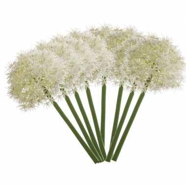 8x witte kunst allium/sierui kunstbloemen 65 cm decoratie