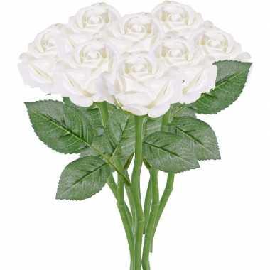 8x witte kunstroos kunstbloemen 27 cm decoratie