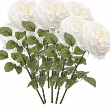 8x witte kunstroos kunstbloemen 66 cm decoratie