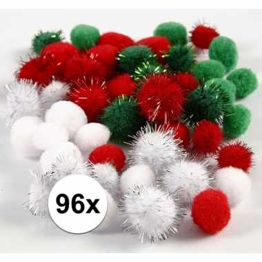 96x hobby pompons 15-20 mm wit/groen/rood