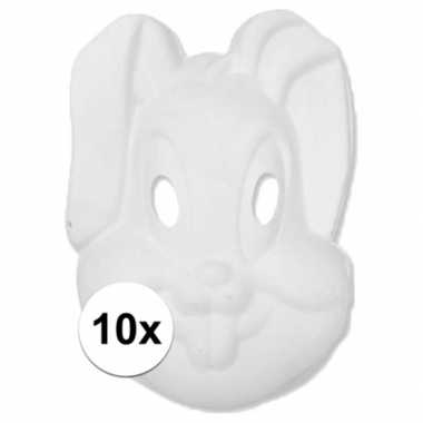 Basic wit konijnen/hazen masker 10 stuks
