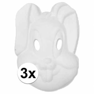 Basic wit konijnen/hazen masker 3 stuks