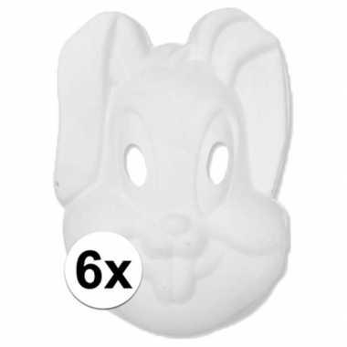 Basic wit konijnen/hazen masker 6 stuks
