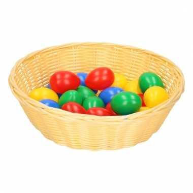 Beige mandje met gekleurde eieren 25 cm