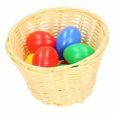 Beige paaseieren mandje met gekleurde eieren 14 cm