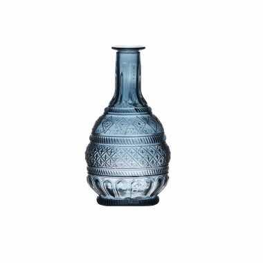 Blauw transparant design vaasje van glas 23 x 10.5 cm
