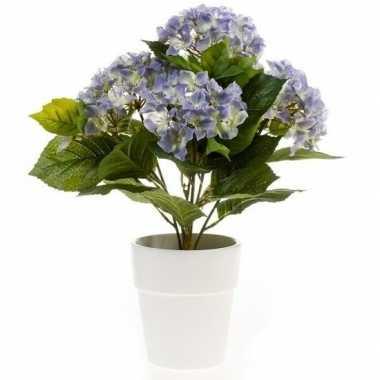 Blauwe kunstplant hortensia plant in pot