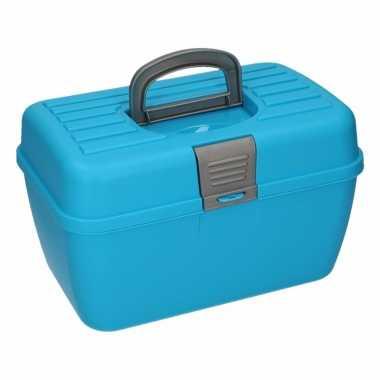 Blauwe opberg/sorteer box 28 cm