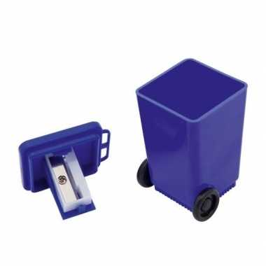 Blauwe rolcontainer puntenslijper 6 cm