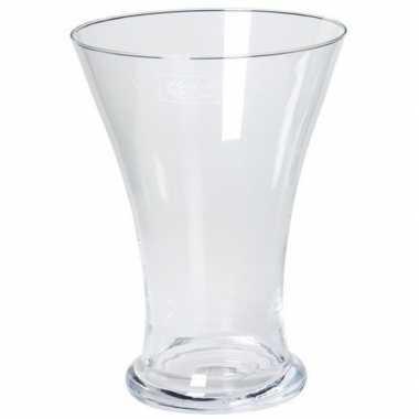 Bloemen boeket uitlopende vaas glas 25 cm
