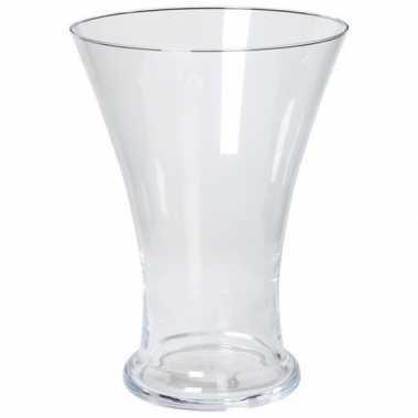 Bloemen boeket uitlopende vaas glas 30 cm