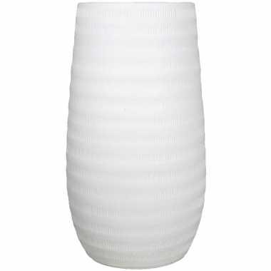 Bloemenvaas mat wit keramiek voor boeketten/takken/bloemen h50 x d26 cm