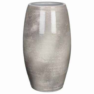 Bloemenvaas shiny lightgrey stone keramiek voor boeketten/takken/bloemen h50 x d30 cm