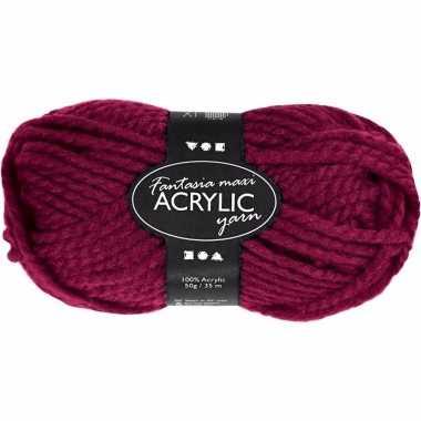 Bolletje acryl wol bordeaux rood 50 gram