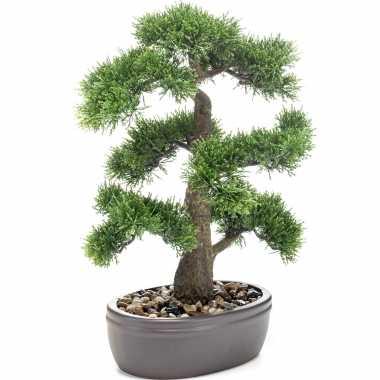 Bonsai boompje cedrus atlantica glauca kunstplant in kunststof pot 45 cm