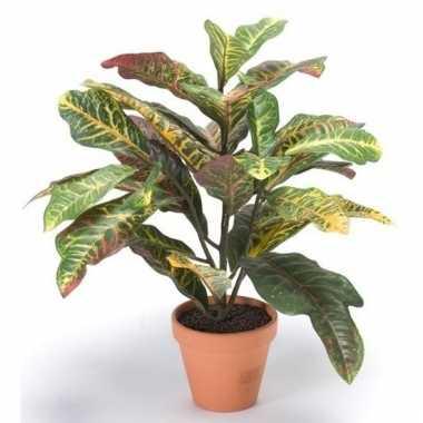 Bordeaux/groene kunstplant croton plant in pot 50 cm