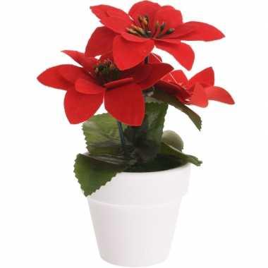 Budget kunstplanten rode poinsettia bloem met pot 16 cm