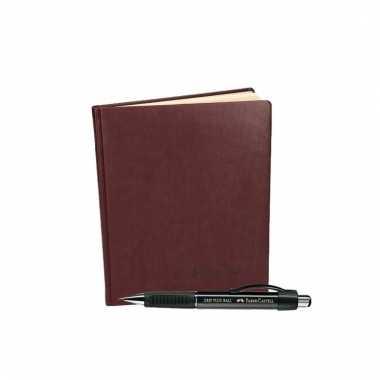 Condoleances boek donkerrood met luxe pen