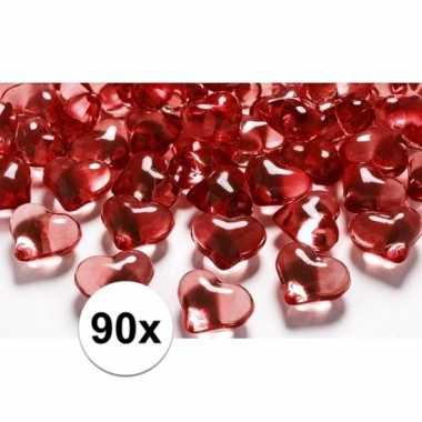 Decoratie hartjes rood 90 stuks