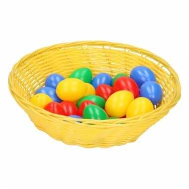 Geel mandje met gekleurde eieren 25 cm