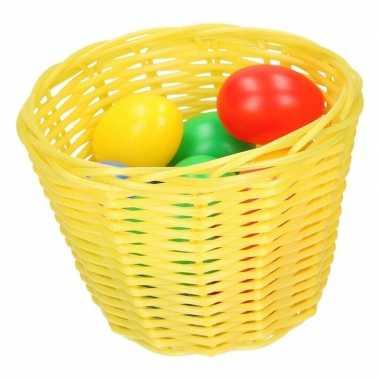 Geel paaseieren mandje met gekleurde eieren 14 cm