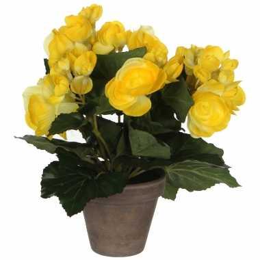 Gele begonia kunstplant 25 cm in grijze pot