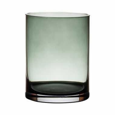 Glazen bloemen cylinder vaas/vazen 15 x 12 cm transparant grijs