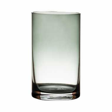 Glazen bloemen cylinder vaas/vazen 20 x 12 cm transparant grijs