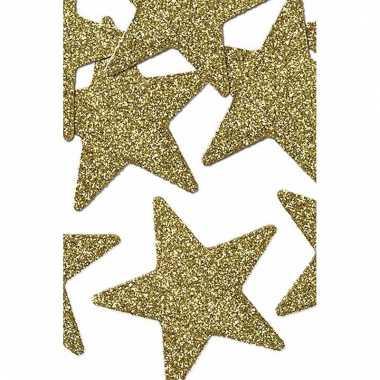 Gouden glitter sterren 5 cm