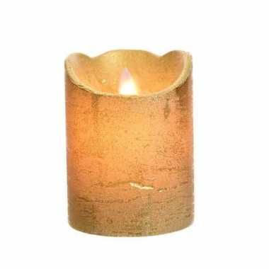 Gouden nep kaars met led licht 10 cm