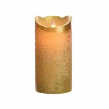 Gouden nep kaars met led licht 15 cm