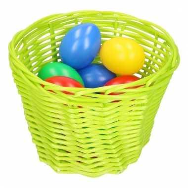 Groen paaseieren mandje met gekleurde eieren 14 cm
