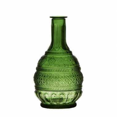 Groen transparant design vaasje van glas 23 x 10.5 cm