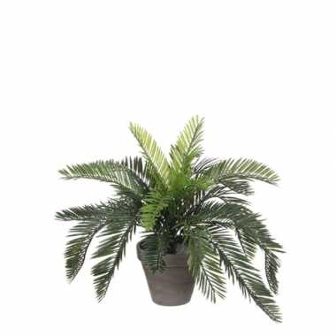 Groene cycaspalm kunstplant 37 cm met zwarte pot