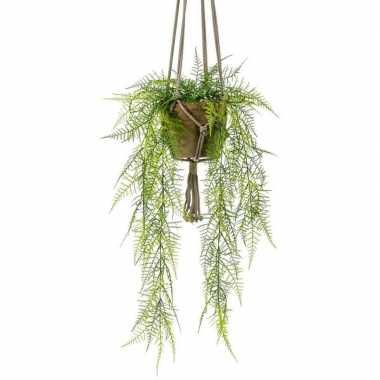 Groene hangende kunstplant varen plant in pot