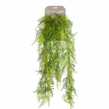 Groene kantvaren kunstplant hangende tak 80 cm