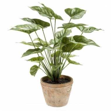 Groene kunstplant anthurium plant in pot 50 cm