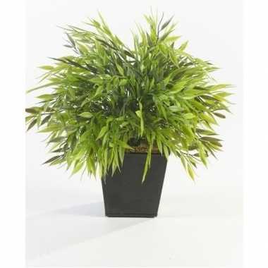 Groene kunstplant bamboe plant in pot 25 cm
