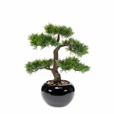 Groene kunstplant cedar bonsai plant in pot