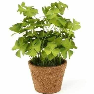 Groene kunstplant klaverzuring plant in pot 25 cm