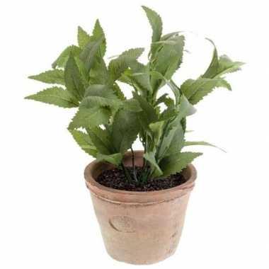 Groene kunstplant munt kruiden plant in pot