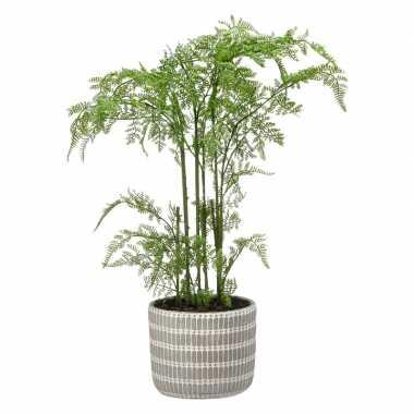 Groene varens kunstplanten 65 cm met grijze pot