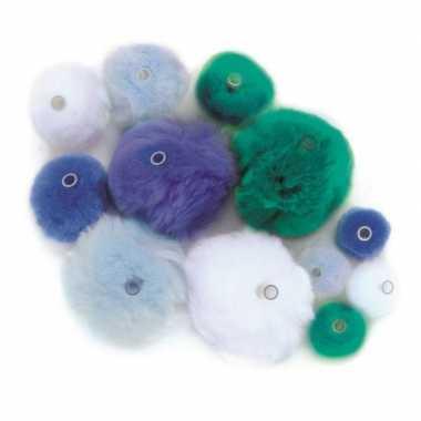 Hobby 45 gekleurde pompons blauw/lichtblauw/groen