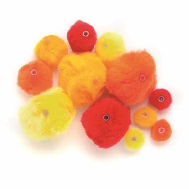 Hobby 45 gekleurde pompons rood, oranje, geel