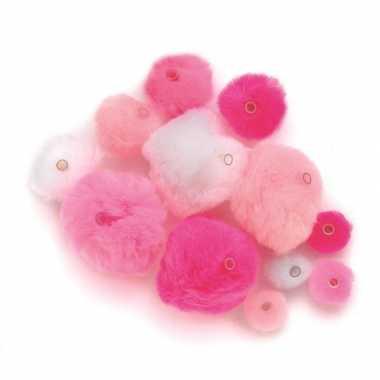 Hobby 45 gekleurde pompons roze tinten