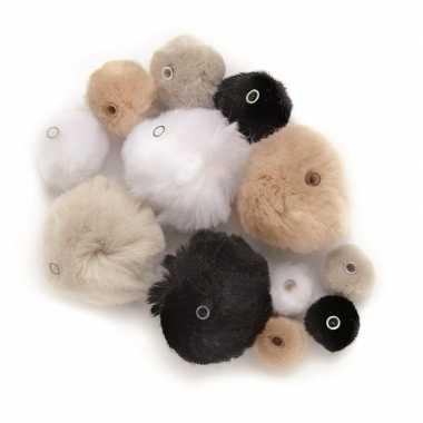 Hobby 45 gekleurde pompons wit/zwart/grijs